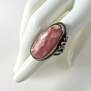 Sterling Silver 925 Pink Agate Ring 5 1/2 Gift